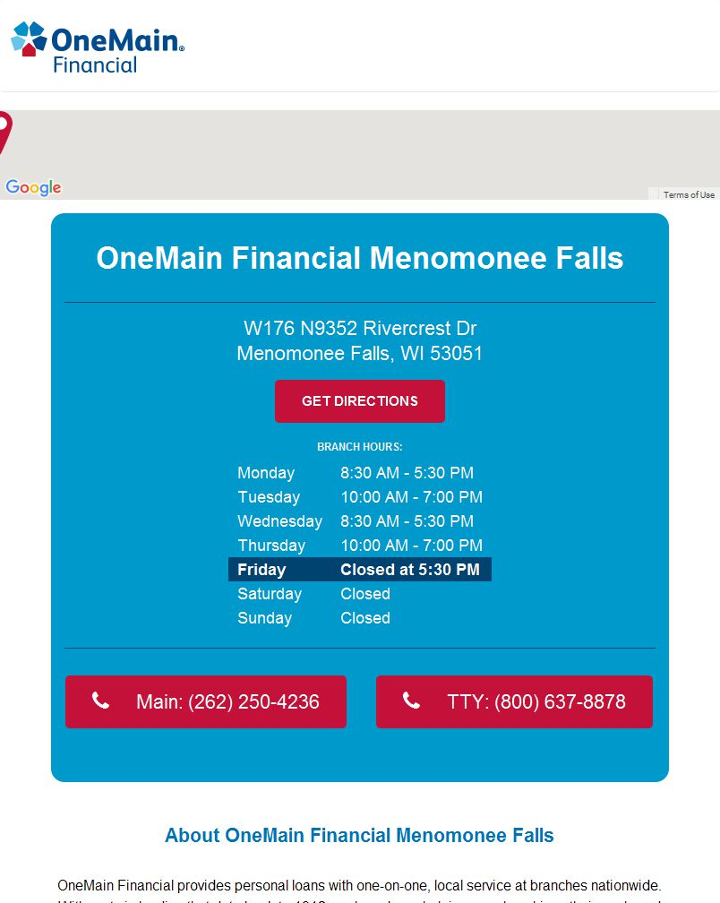 Onemain Financial in Menomonee Falls, WI | W176N9352 River ... Onemain Financial