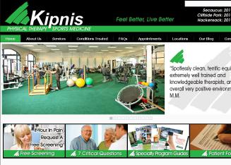Kipnis+Physical+Therapy+and+Sports+Medicine Website