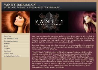 Vanity+Hair+Salon Website