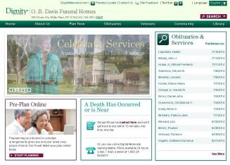 O.+B.+Davis+Funeral+Homes Website