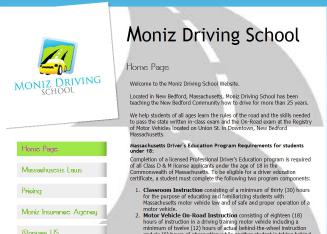 Moniz+Driving+School Website