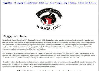 Raggs+Septic+Service Website