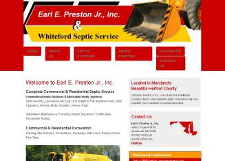 Earl+E+Preston+Jr+Inc+%26+Whiteford+Septic+Service Website