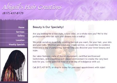 Abigail%27s+Hair+Creations Website