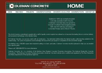 Coleman+Concrete+Inc Website