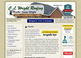 C+L+Wright+Roofing+Inc Website